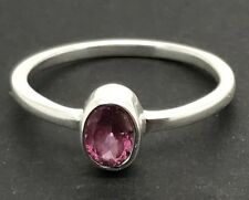 Real Natural Pink Tourmaline rubellite oval Solitaire Ring Solid Sterling Silver