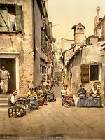 VINTAGE PHOTOGRAPHY COURT YARD VENICE ITALY COLOUR TINT ART POSTER PRINT LV4921