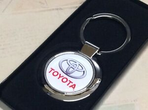 Chrome Keyring With Printed Toyota Logo Corolla Land Cruiser Aygo Yaris