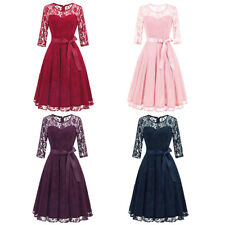 Women Ladies Vintage Lace Swing Skater Party Evening Retro HoUKewife Party Dress