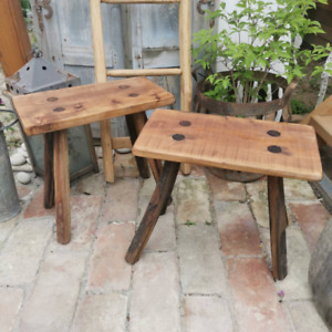 Set of 2 Rustic Milking Stools or Bedside Tables Farmhouse Decor wooden seating