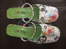 """I LOVE BILLY"" Kitten Heel Mules FLORAL SIZE 37 Vegan/Faux Leather/Never worn"