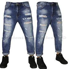 Jeans Uomo Denim Strappati Pantaloni Affusolati sfilacciati blu nuovo 664
