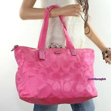 Coach Hot Pink Signature Nylon Medium Packable Tote With Case F 77321 148
