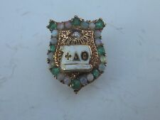 Antique 14k Solid Gold Phi Delta Theta Fraternity Opal & Emerald Pin Badge