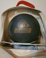 Vintage Brunswick Rhino Black Bowling Ball 15lbs 13oz with vintage carry bag