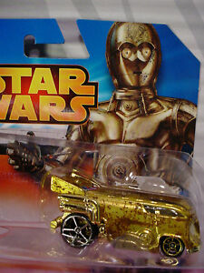 2015 Disney STAR WARS Weathered C-3PO Gold VW Drag Bus✰LOOSE✰Hot Wheels