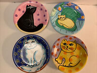 RARE Cats & Mouse Hand painted & Made Italy 4 Ceramic Salad Plates By The Cellar