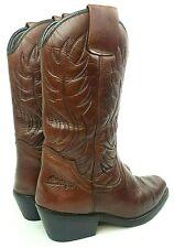 GRINGO Donna Stivali Da Cowboy Cowgirl Vintage Designer Stitch Pelle Marrone Uk 8