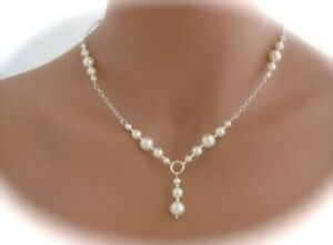 Wedding Jewellery's Bridal,bridesmaid Gift,white/ivory/pink Glass Pearl Necklace
