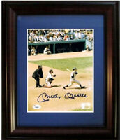 Mickey Mantle Signed Framed 8x10 Yankees swinging Photo Bold Autograph JSA COA