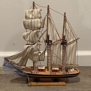 "Vintage large 12"" hand crafted Wood model Sailboat"