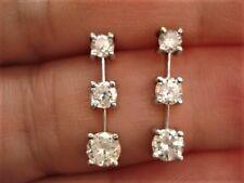 LADIES 1 CT PRINCESS 3 DIAMOND PPF EARRINGS 14K WG