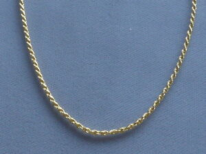 "NEW 18"" GOLD OVER ITALIAN STERLING SILVER ROPE NECKLACE  035  1.6mm  ITALY 925"