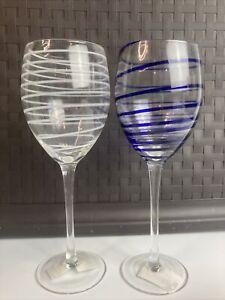 KATE SPADE NEW YORK CHARLOTTE STREET WHITE / BLUE WINE GLASSES / SET OF 2