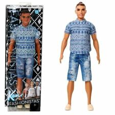 Barbie FNJ38 Ken Fashionistas Distressed Denim Toy Doll Mattel