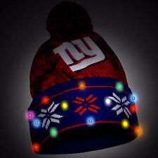 New York Giants Big Logo Light Up Printed Beanie Winter Hat Cuffed Pom New __S91