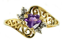Women's .58 ct Diamond & Amethyst Filigree Ring in 10k Solid Yellow Gold