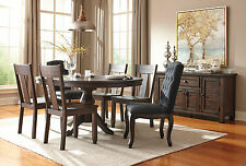 ADAMS - 7pcs Transitional Brown Round Oval Dining Room Table & Wood Chairs Set