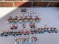 Vintage Lot Of 40 Christmas Santa Claus Snowmen Gift Craft Holiday Ornaments