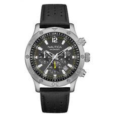 Nautica Orologio Watch Orologio Uomo NAD16544G Cronografo Datario Pelle Nero New