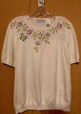 Alfred Dunner Women's (L)) Lovely Embroidered Roses Short SL Knit Tunic