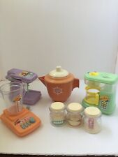 Vintage Toy Kitchen Assortment Appliances Blender Coffeemaker Mixer Canisters