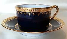 FM Limoges Cup & Saucer~Cobalt Blue, White, Gold