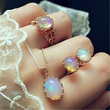 Women Moonstone Ring+Earrings+Necklace Stainless Steel Gifts Jewelry Set Ch T8F4