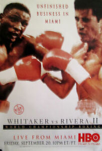"WHITAKER VS RIVERA II ORIGINAL HBO POSTER 1996 40"" X 27"" ROLLED MINT"