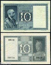 ITALIA ITALY 10 liras lire 1935 1939 Pick 25 c   EBC+ /  XF