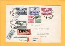 Austria Registered Express Air Mail via Prague Vienna Trencin 1931 Backstamp z34