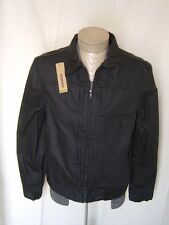 DKNY Mens Oil Cloth Waxed Jacket L Field Blazer Trucker Canvas Denim Twill Black