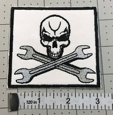 "Biker vest patch  SKULL & CROSSED WRENCHES 3"" X 3""  SEW/IRON ON"