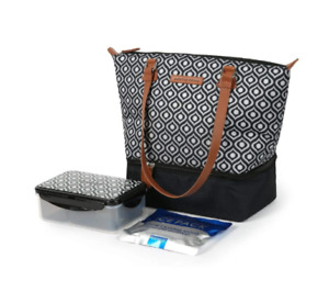 ARCTIC ZONE Dual Compartment Ladies Lunch Tote in Vintage Geo