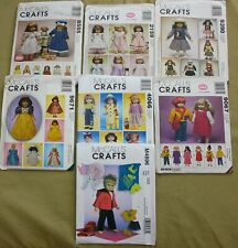"""McCalls Crafts Doll clothes Patterns for 18"""" Doll Lot of 7"""