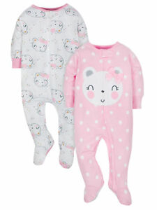 Gerber Baby Girls 2 Pack Organic Cotton Sleep N Plays NEW Various Sizes