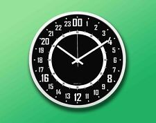 """24 Hours Wall Clock 11.5""""(29.2cm) Round White, White and Black Face"""