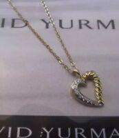 "David Yurman Diamond 18K Solid Yellow Gold Heart Pendant Necklace 20"""