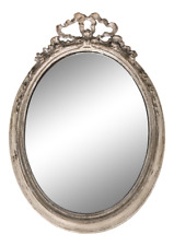 Italian Antique Oval Mirror With Ribbon Motif