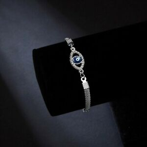 925 Silver Plated Blue Crystal Eyes Lucky Bracelet Turkish Evil Eye for Women