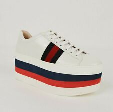 Gucci Women's White Leather BRW Platform Sneaker with BRB Web 475649 9087