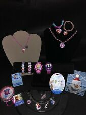Disney Frozen Jewelry Box Lot Watch Charm Bracelet Elsa Anna Necklace Earrings