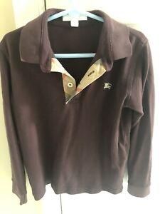 Burberry Boys Polo Long Sleeve Shirt Burgundy Size 8Y