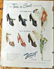 Vitality shoes ad 1947 original vintage 1940s oversize illus. high heels model