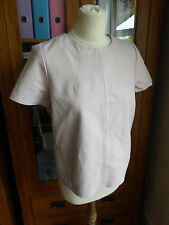 Topshop blush pink real leather top blouse 10 VGC tshirt smart casual