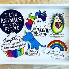 Six Vegan Vinyl Stickers. Vegan Gift Ideas. Vegan Stationery.