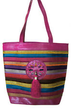 Moroccan Genuine Leather Fabric Handbag Handmade Purse Women Tote Bag LG Magenta
