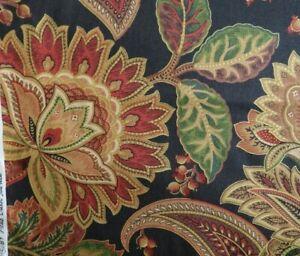 Vtg Mill Creek Blk & Gold Botanical Home Fabric Sateen Valentina Noir 6.75 yds