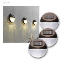 Wandlampe Solar 3er Set, 3x2 LED warmweiß, Wandleuchte Solarleuchte Wandmontage